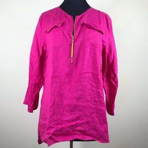 Ellen Tracy Hot Pink Linen Blouse